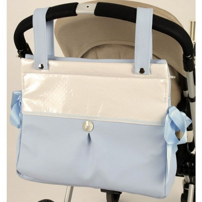 Blue Square Top Changing Bag with Button and Bow Detail